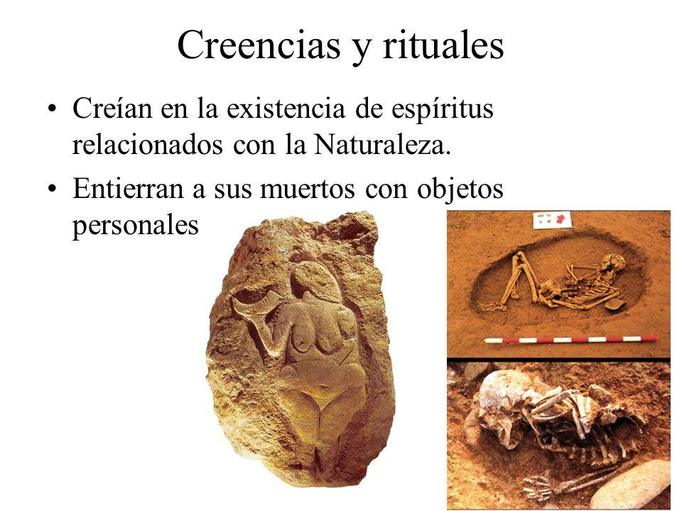 Creencias y rituales Creían en la existencia de espíritus relacionados con la Naturaleza.