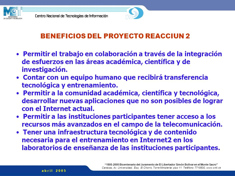 BENEFICIOS DEL PROYECTO REACCIUN 2