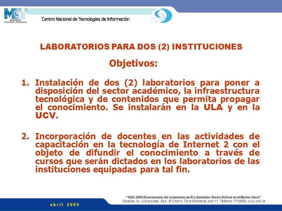 LABORATORIOS PARA DOS (2) INSTITUCIONES