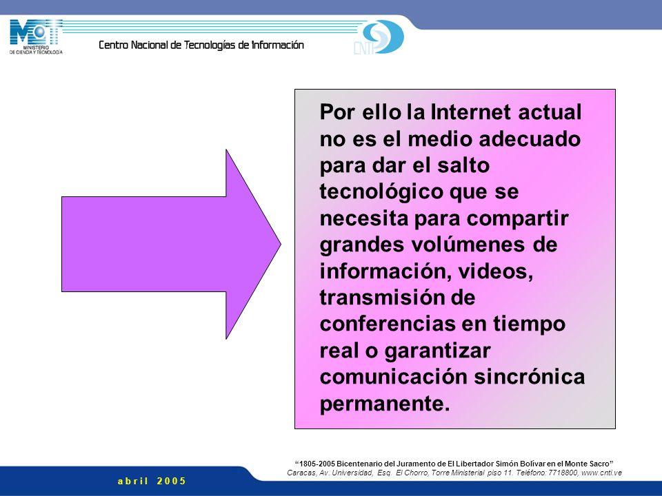 Por ello la Internet actual no es el medio adecuado para dar el salto tecnológico que se necesita para compartir grandes volúmenes de información, videos, transmisión de conferencias en tiempo real o garantizar comunicación sincrónica permanente.