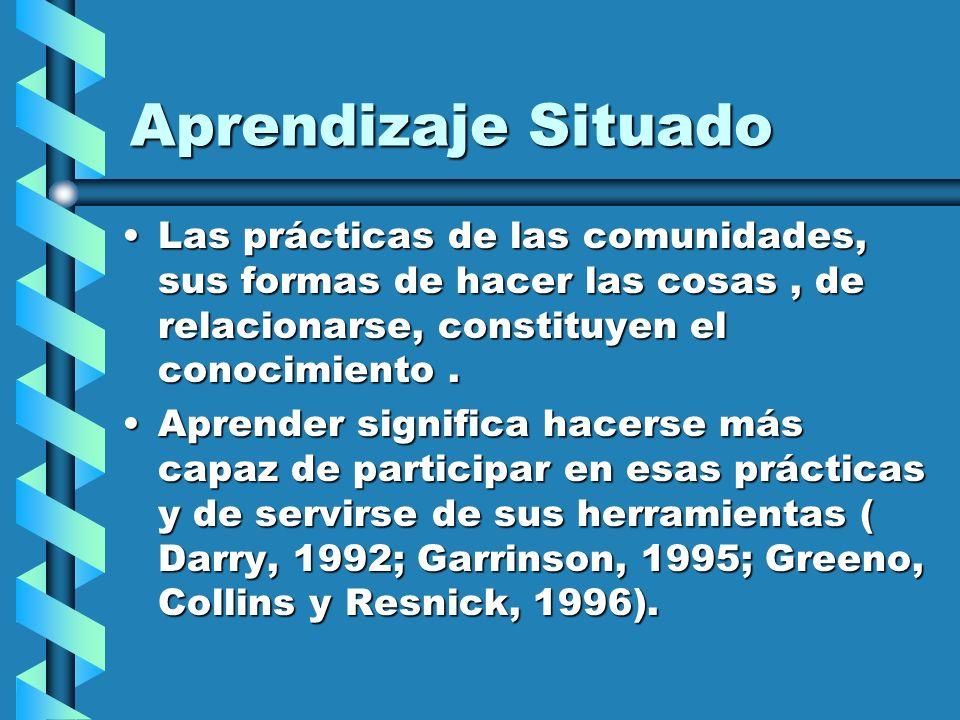 Aprendizaje Situado Las prácticas de las comunidades, sus formas de hacer las cosas , de relacionarse, constituyen el conocimiento .