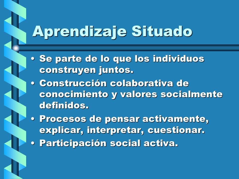 Aprendizaje Situado Se parte de lo que los individuos construyen juntos. Construcción colaborativa de conocimiento y valores socialmente definidos.