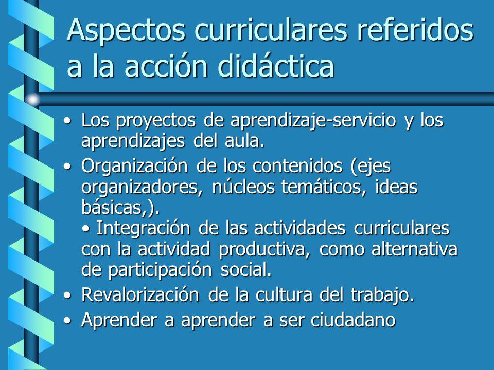 Aspectos curriculares referidos a la acción didáctica