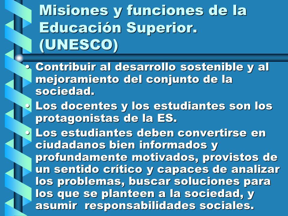 Misiones y funciones de la Educación Superior. (UNESCO)