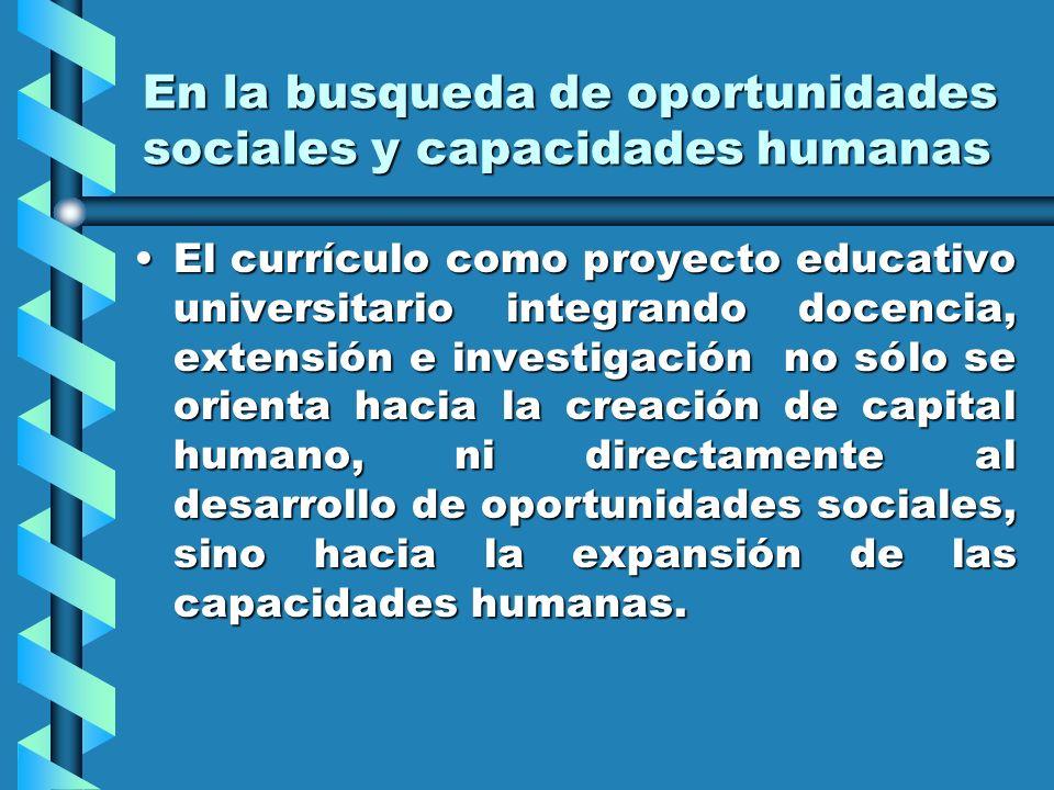En la busqueda de oportunidades sociales y capacidades humanas