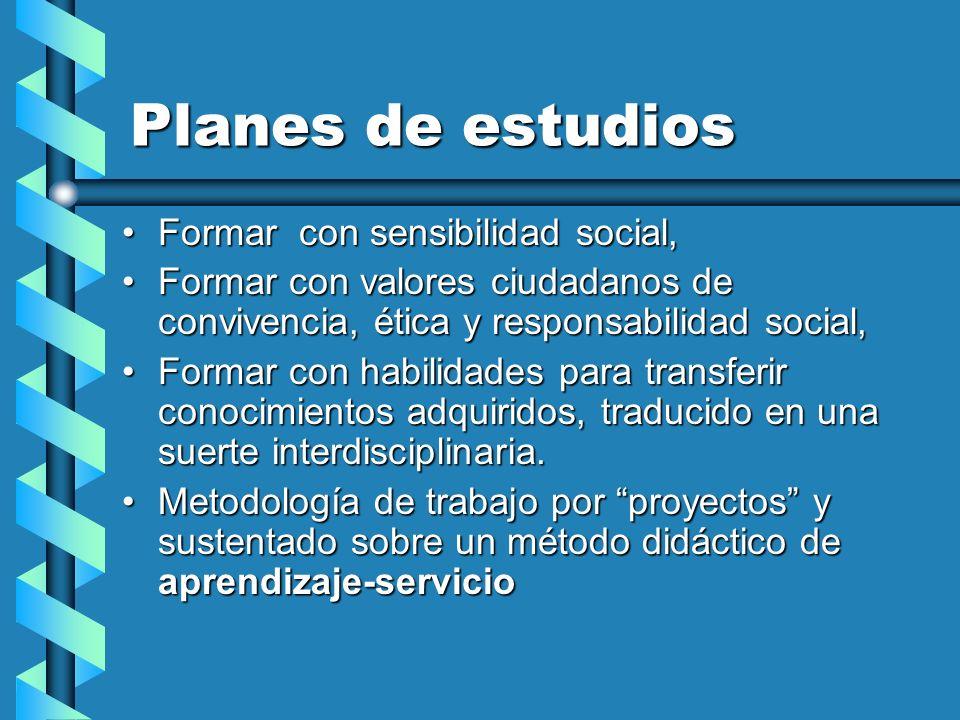 Planes de estudios Formar con sensibilidad social,