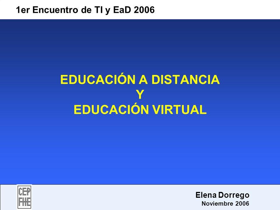 EDUCACIÓN A DISTANCIA Y EDUCACIÓN VIRTUAL