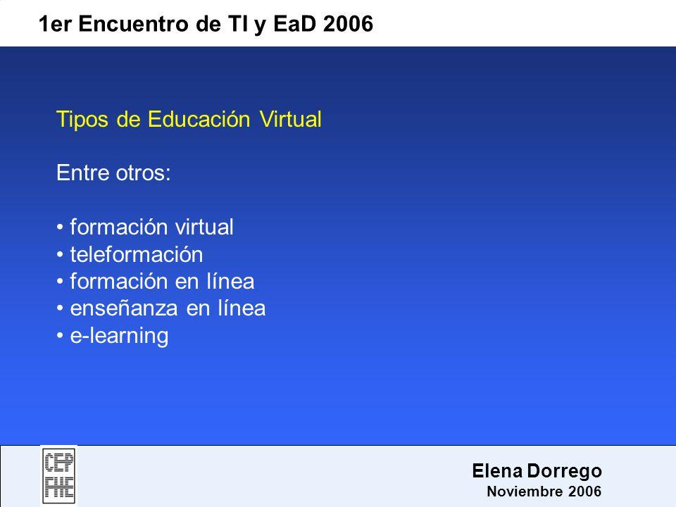 Tipos de Educación Virtual Entre otros: formación virtual