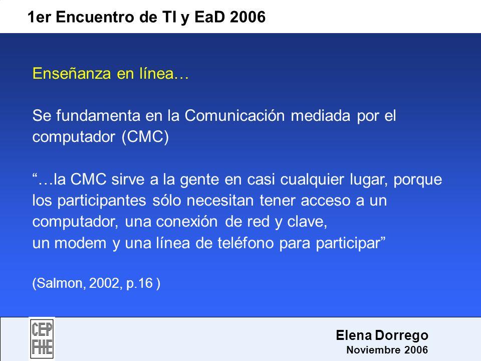 Se fundamenta en la Comunicación mediada por el computador (CMC)