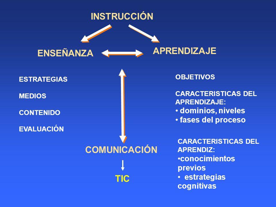 ENSEÑANZA COMUNICACIÓN TIC dominios, niveles fases del proceso
