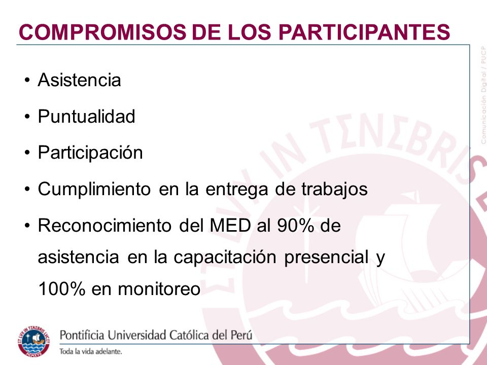 COMPROMISOS DE LOS PARTICIPANTES