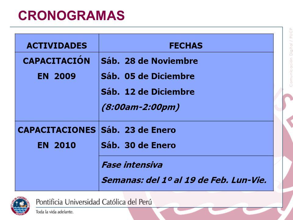 CRONOGRAMAS ACTIVIDADES FECHAS CAPACITACIÓN EN 2009