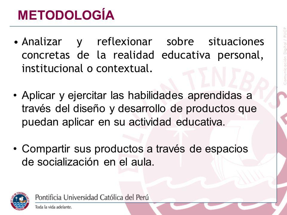 METODOLOGÍA Analizar y reflexionar sobre situaciones concretas de la realidad educativa personal, institucional o contextual.
