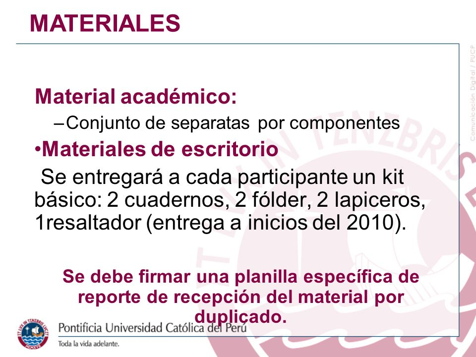 MATERIALES Material académico: Materiales de escritorio