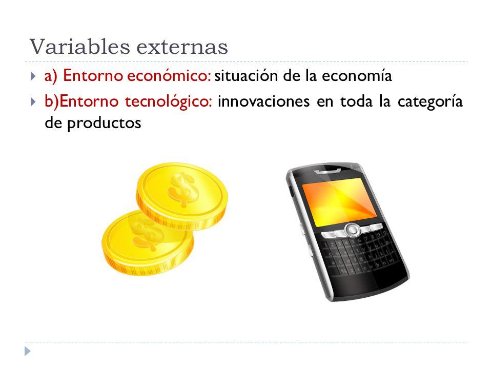Variables externas a) Entorno económico: situación de la economía