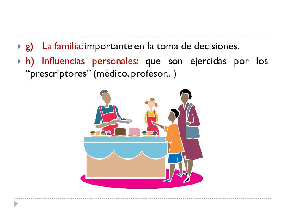 g) La familia: importante en la toma de decisiones.