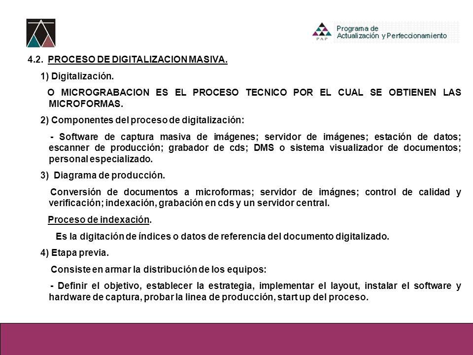 4.2. PROCESO DE DIGITALIZACION MASIVA.