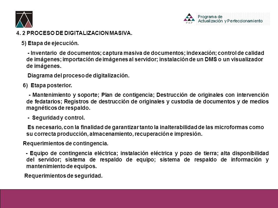 4. 2 PROCESO DE DIGITALIZACION MASIVA.