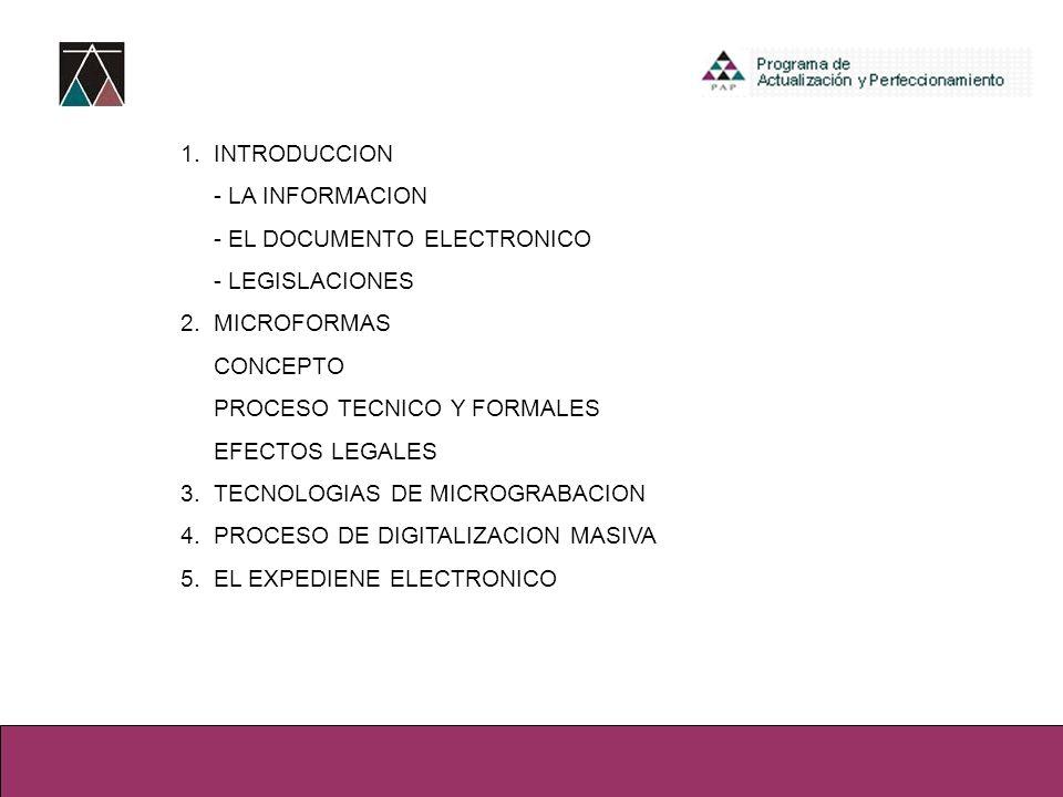 1. INTRODUCCION - LA INFORMACION. - EL DOCUMENTO ELECTRONICO. - LEGISLACIONES. 2. MICROFORMAS. CONCEPTO.
