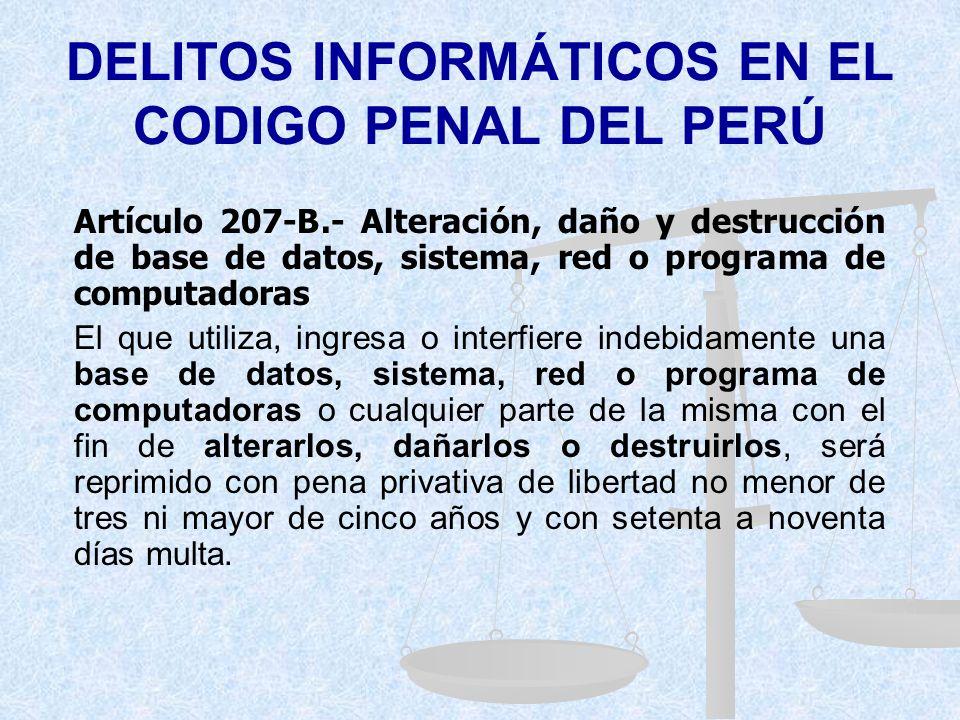 DELITOS INFORMÁTICOS EN EL CODIGO PENAL DEL PERÚ