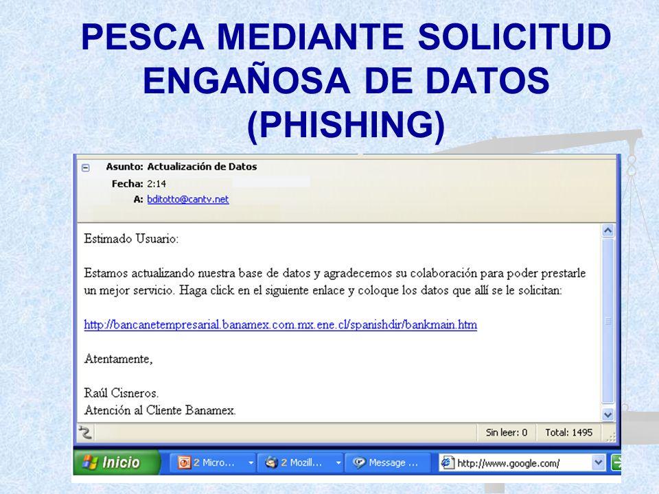 PESCA MEDIANTE SOLICITUD ENGAÑOSA DE DATOS (PHISHING)