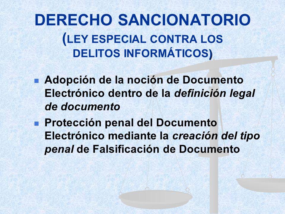 DERECHO SANCIONATORIO (LEY ESPECIAL CONTRA LOS DELITOS INFORMÁTICOS)