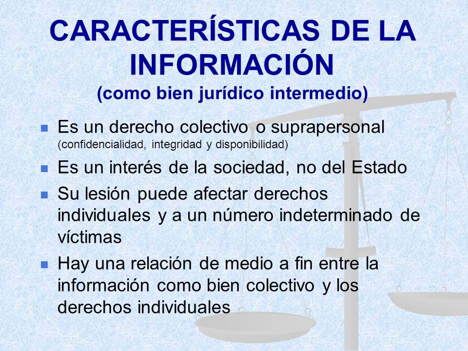 CARACTERÍSTICAS DE LA INFORMACIÓN (como bien jurídico intermedio)