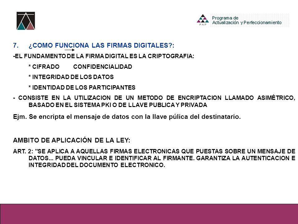 7. ¿COMO FUNCIONA LAS FIRMAS DIGITALES :
