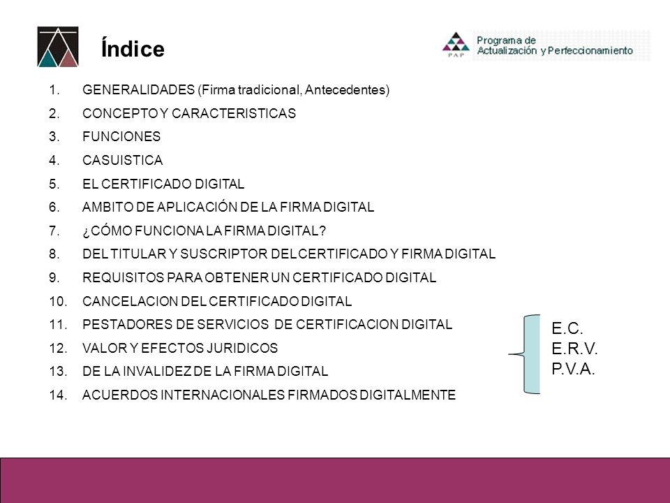 Índice GENERALIDADES (Firma tradicional, Antecedentes) CONCEPTO Y CARACTERISTICAS. FUNCIONES. CASUISTICA.