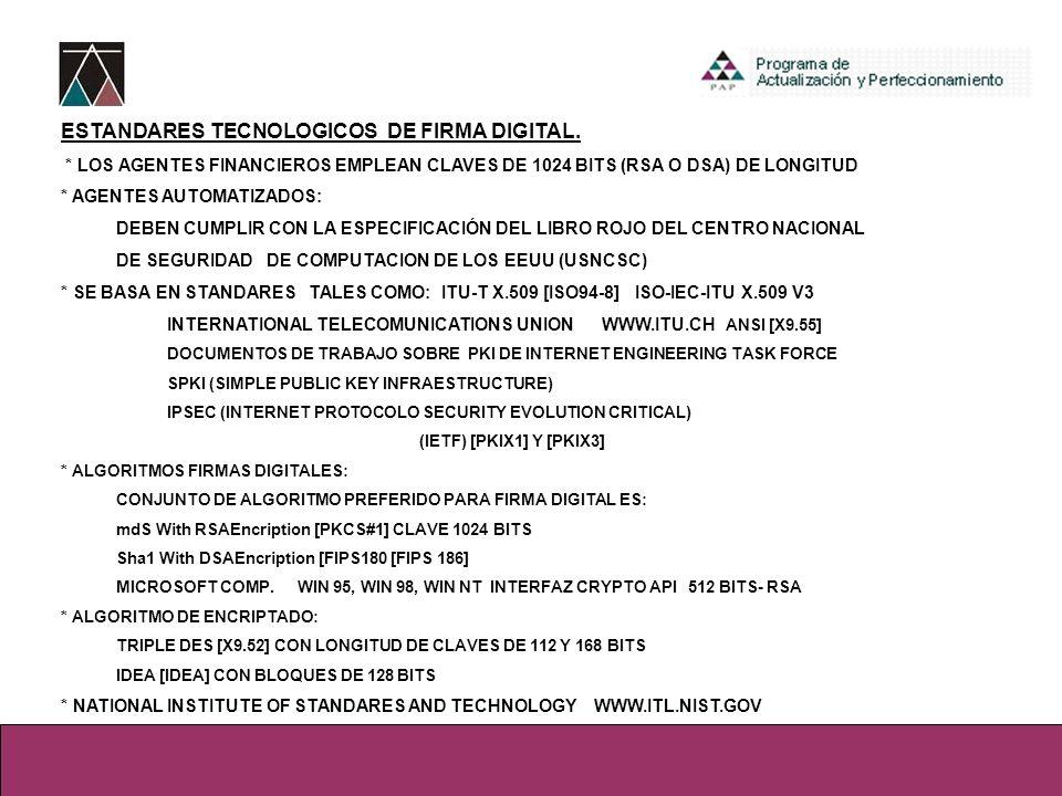 ESTANDARES TECNOLOGICOS DE FIRMA DIGITAL.