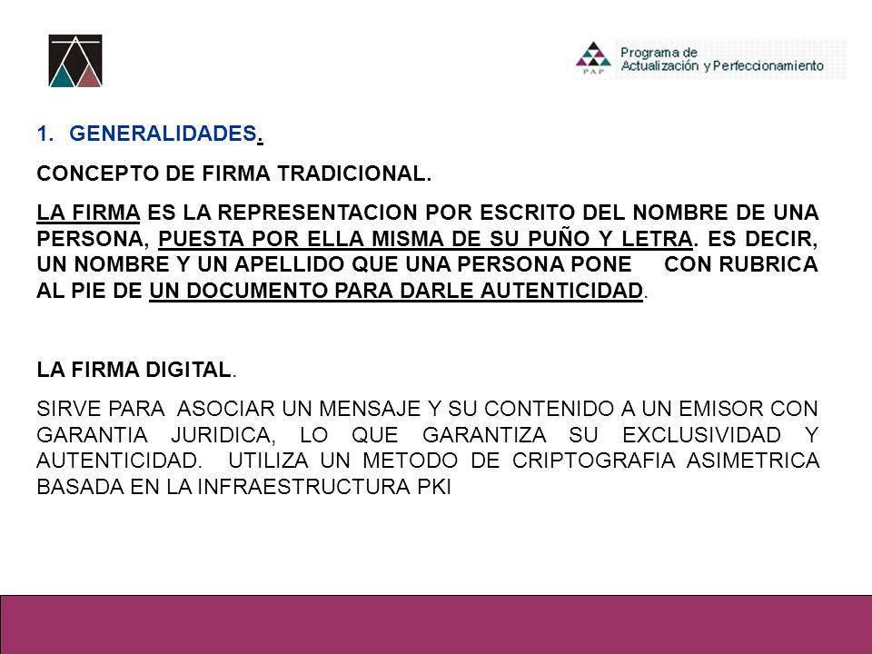 GENERALIDADES. CONCEPTO DE FIRMA TRADICIONAL.