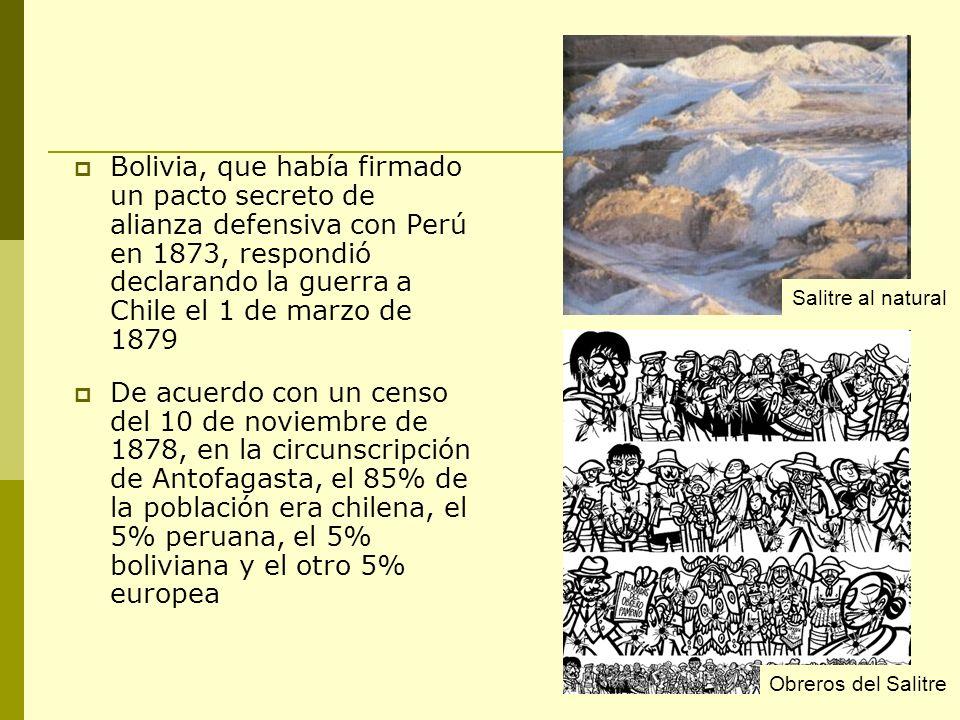 Bolivia, que había firmado un pacto secreto de alianza defensiva con Perú en 1873, respondió declarando la guerra a Chile el 1 de marzo de 1879