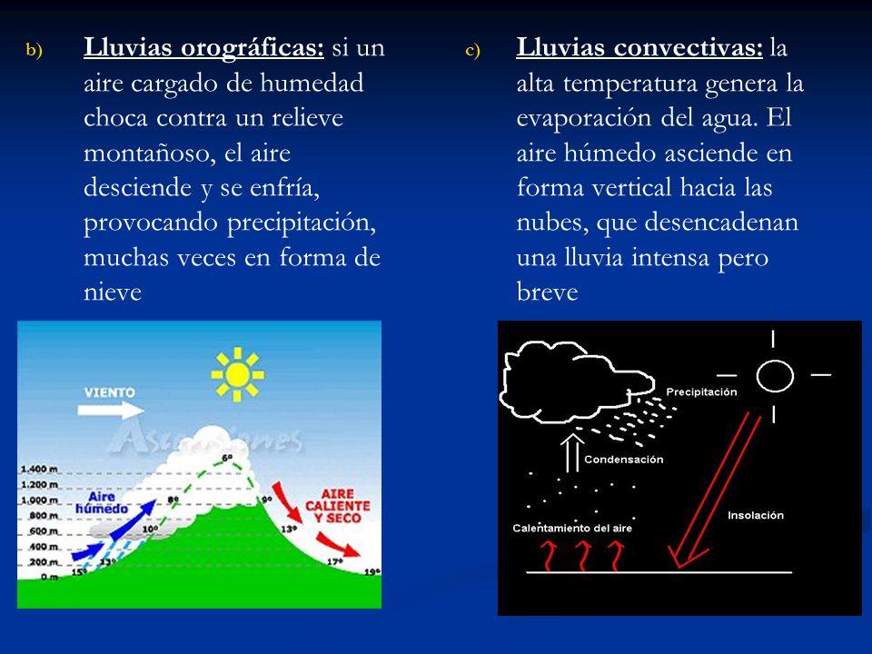 Lluvias orográficas: si un aire cargado de humedad choca contra un relieve montañoso, el aire desciende y se enfría, provocando precipitación, muchas veces en forma de nieve
