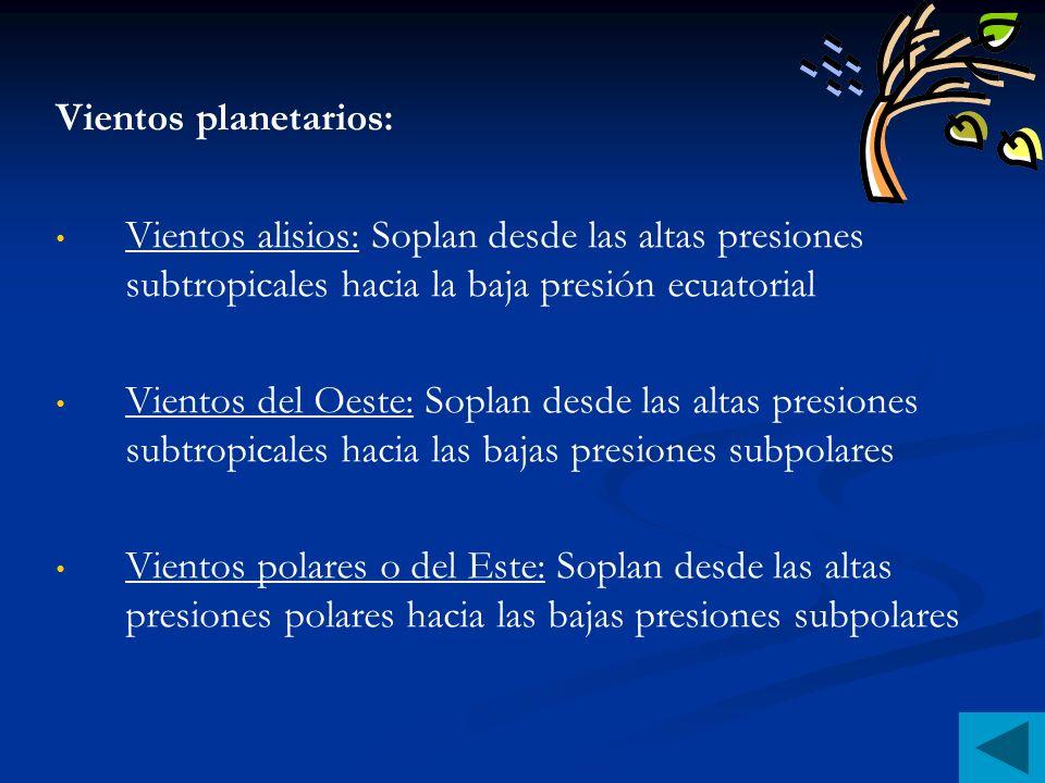Vientos planetarios:Vientos alisios: Soplan desde las altas presiones subtropicales hacia la baja presión ecuatorial.