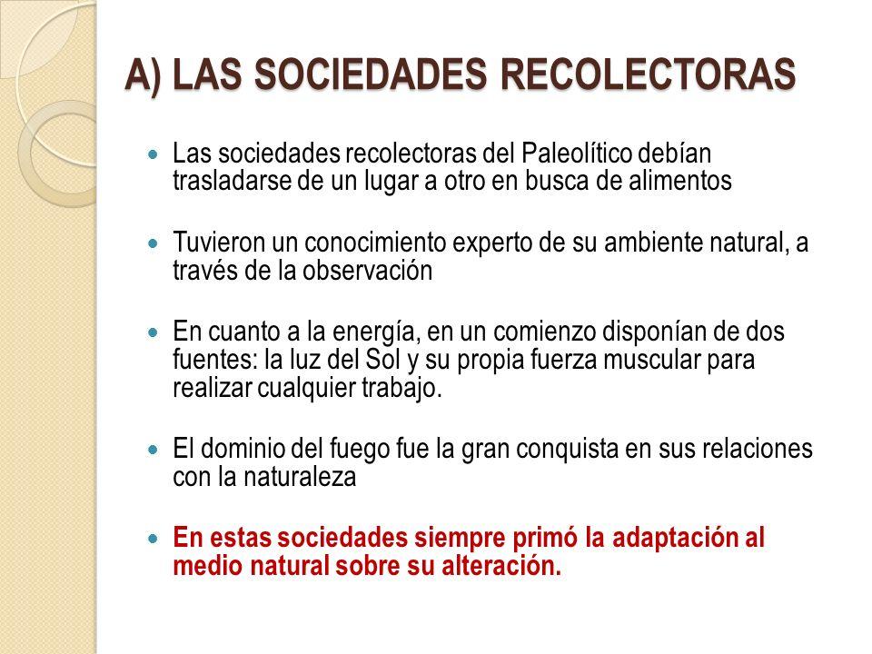 A) LAS SOCIEDADES RECOLECTORAS