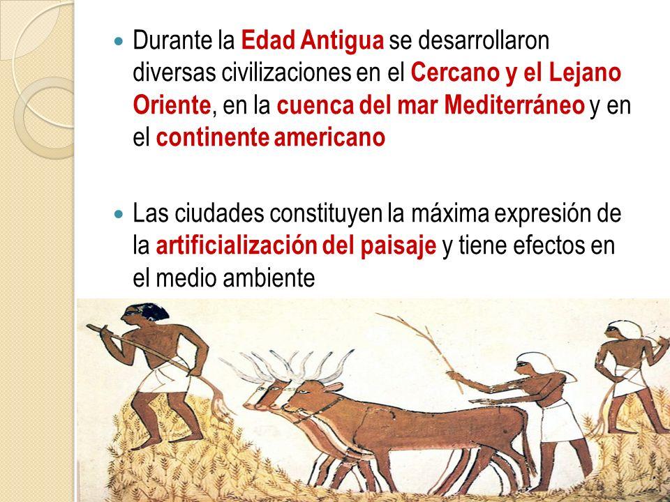 Durante la Edad Antigua se desarrollaron diversas civilizaciones en el Cercano y el Lejano Oriente, en la cuenca del mar Mediterráneo y en el continente americano