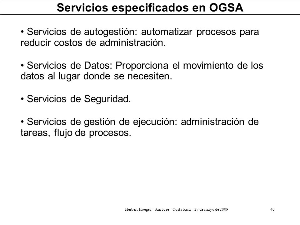 Servicios especificados en OGSA