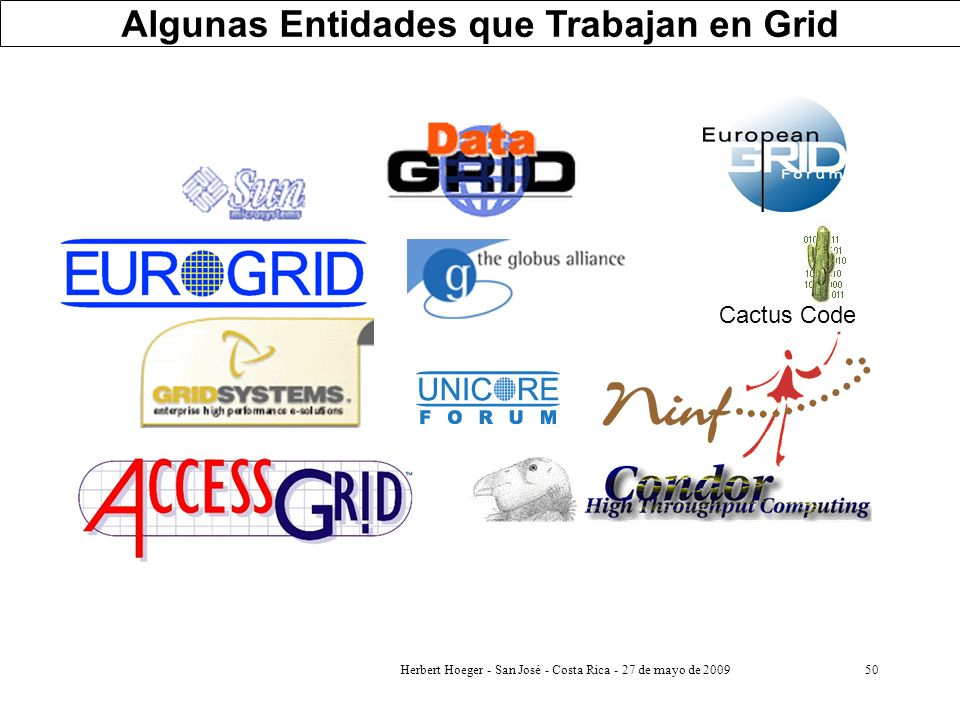 Algunas Entidades que Trabajan en Grid