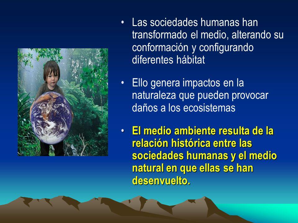 Las sociedades humanas han transformado el medio, alterando su conformación y configurando diferentes hábitat