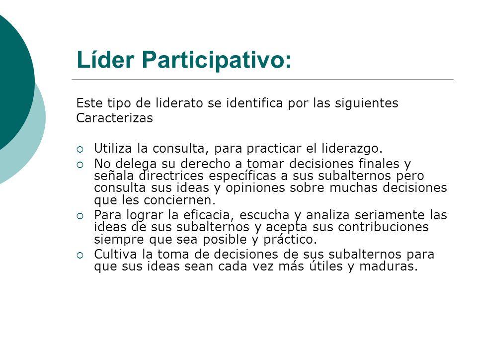Líder Participativo:Este tipo de liderato se identifica por las siguientes. Caracterizas. Utiliza la consulta, para practicar el liderazgo.