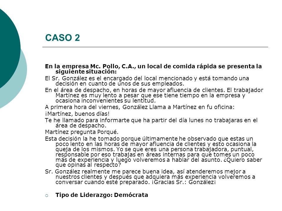 CASO 2 En la empresa Mc. Pollo, C.A., un local de comida rápida se presenta la siguiente situación: