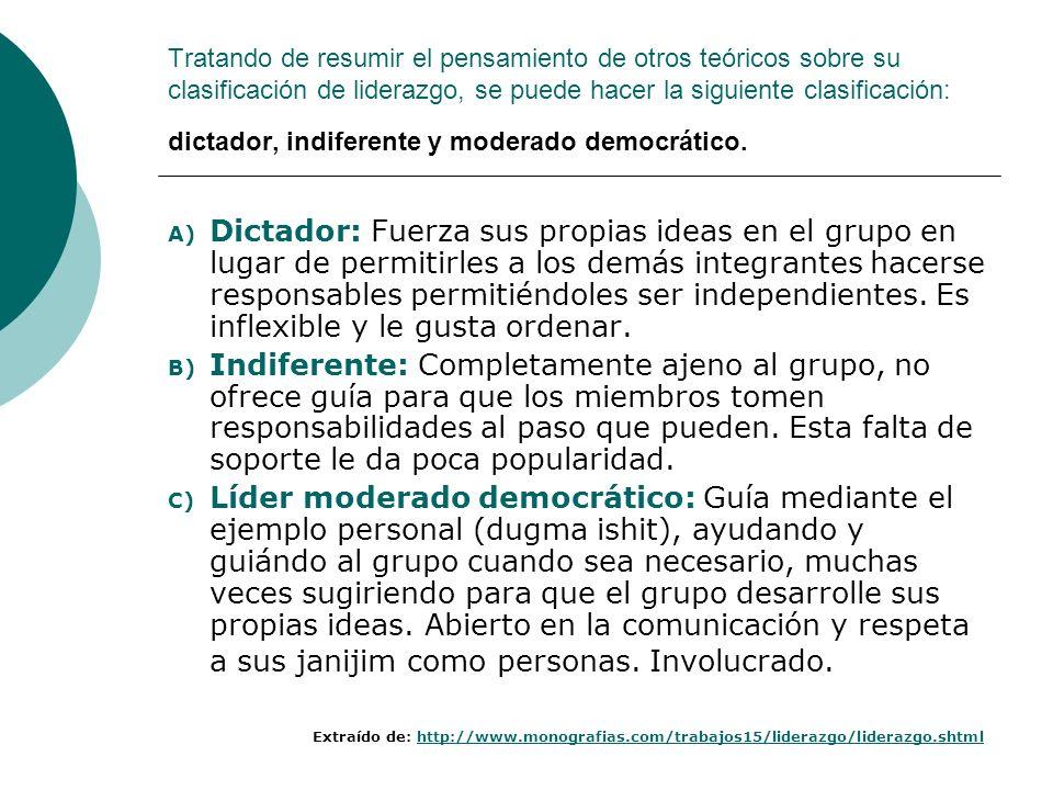 Tratando de resumir el pensamiento de otros teóricos sobre su clasificación de liderazgo, se puede hacer la siguiente clasificación: dictador, indiferente y moderado democrático.