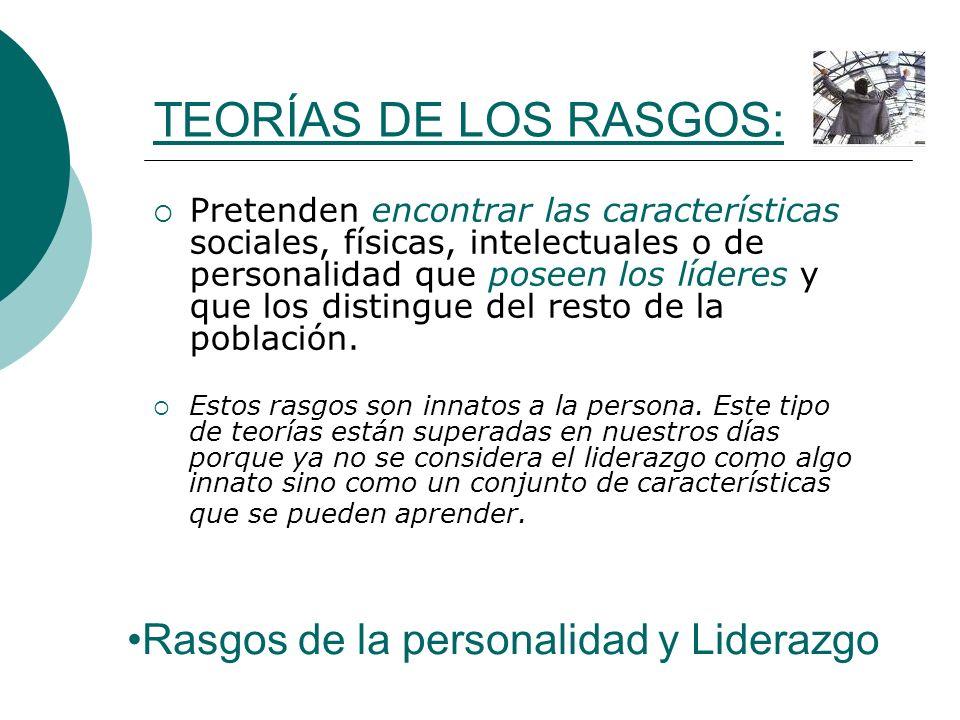 TEORÍAS DE LOS RASGOS: Rasgos de la personalidad y Liderazgo