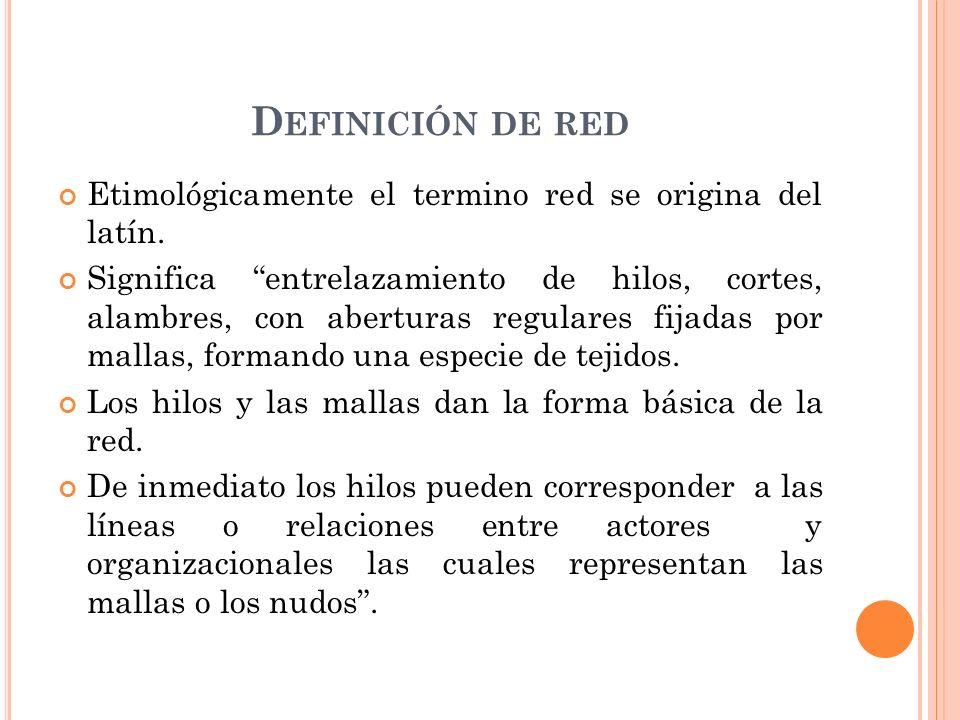 Definición de red Etimológicamente el termino red se origina del latín.