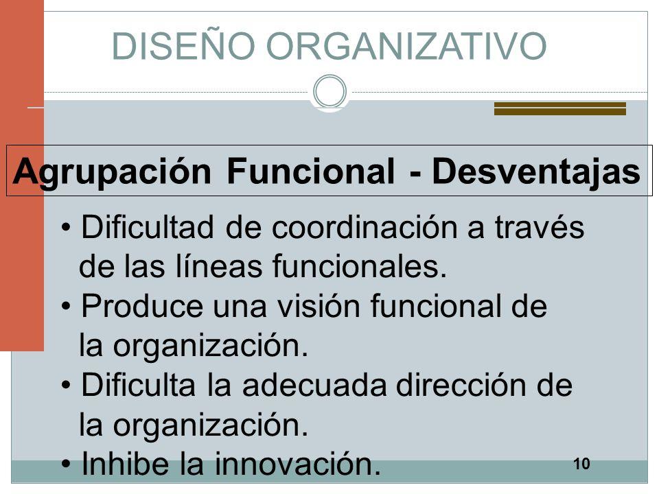 DISEÑO ORGANIZATIVO Agrupación Funcional - Desventajas