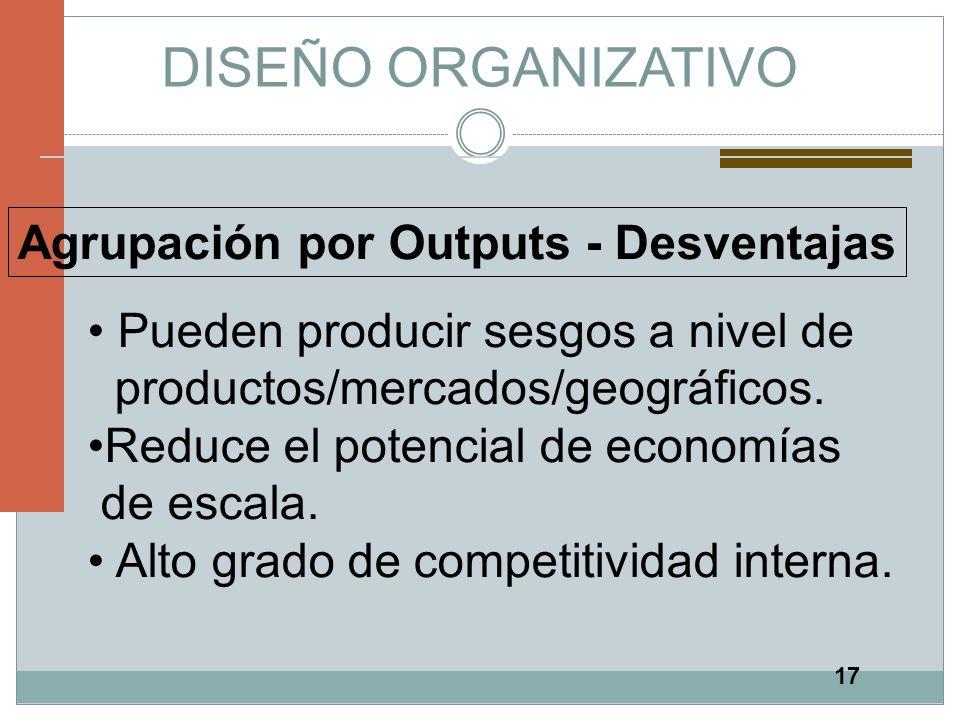 DISEÑO ORGANIZATIVO Agrupación por Outputs - Desventajas