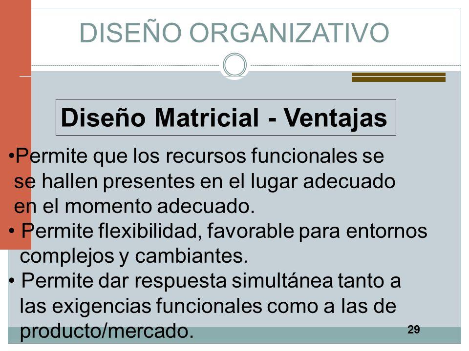 DISEÑO ORGANIZATIVO Diseño Matricial - Ventajas