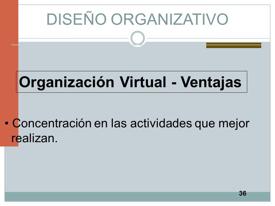 DISEÑO ORGANIZATIVO Organización Virtual - Ventajas