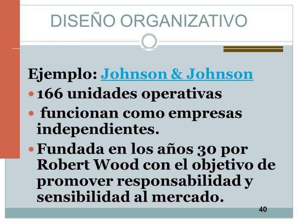 DISEÑO ORGANIZATIVO Ejemplo: Johnson & Johnson 166 unidades operativas