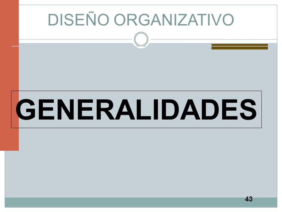 DISEÑO ORGANIZATIVO GENERALIDADES